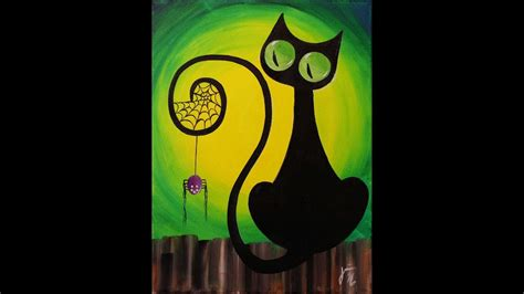 black cat painting step by step spooky the cat step by step acrylic painting on canvas for