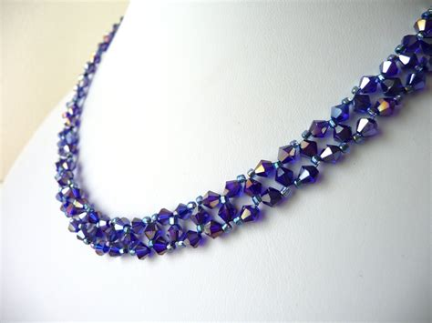 bead jewelry metallic purple beaded jewelry necklace bead woven