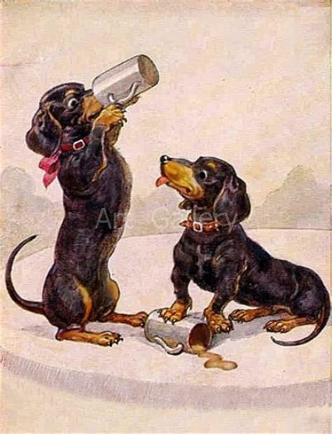 Ready Made Kitchen Cabinets two dachshund drinking beer vintage art print magnet