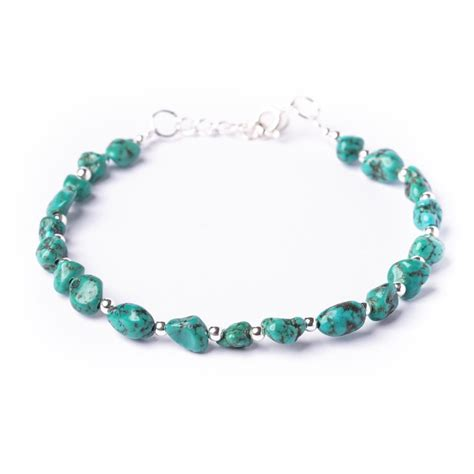 New Sterling Silver 925 Genuine Turquoise Bead Bracelet By