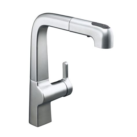 pullout kitchen faucets kohler evoke single handle pull out sprayer kitchen faucet in vibrant polished nickel k 6331 sn