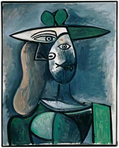 Pablo Picasso In A Green Hat 1947 On Canvas