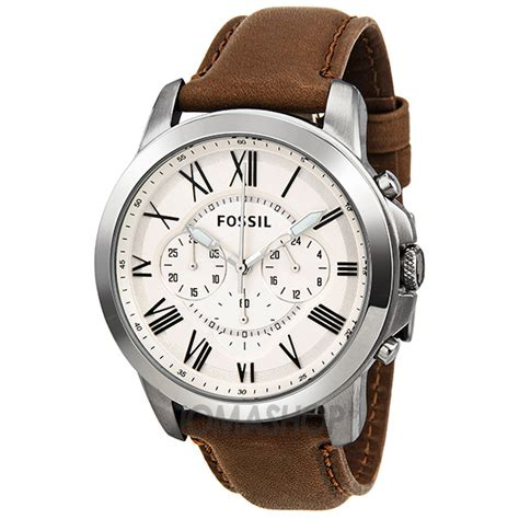 brown leather watches for fossil grant chronograph egg shell brown leather s fs4735 grant fossil shop