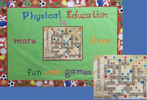 scrabble word pe pec bulletin boards for physical education