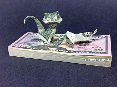dollar bill origami cat beautiful money origami pieces many designs made of