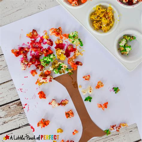 popcorn crafts for colorful fall tree popcorn craft for