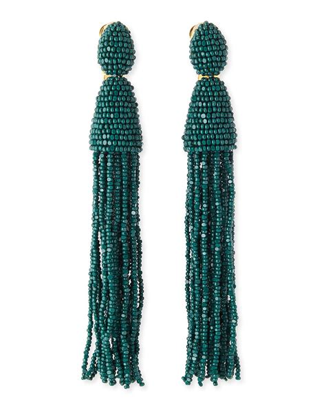 oscar de la renta beaded tassel earrings oscar de la renta beaded tassel earrings forest green