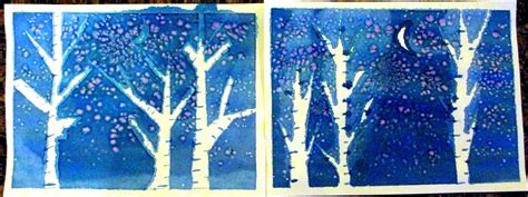winter craft projects watercolor winter trees happiness is