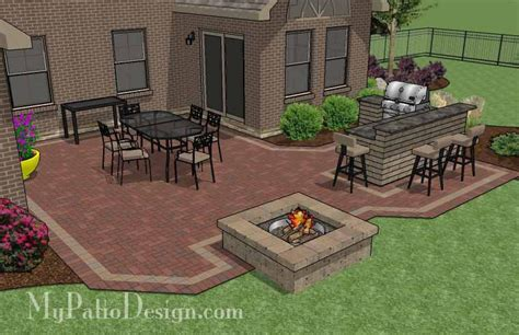 brick patio designs with pit large courtyard brick patio design with outdoor kitchen