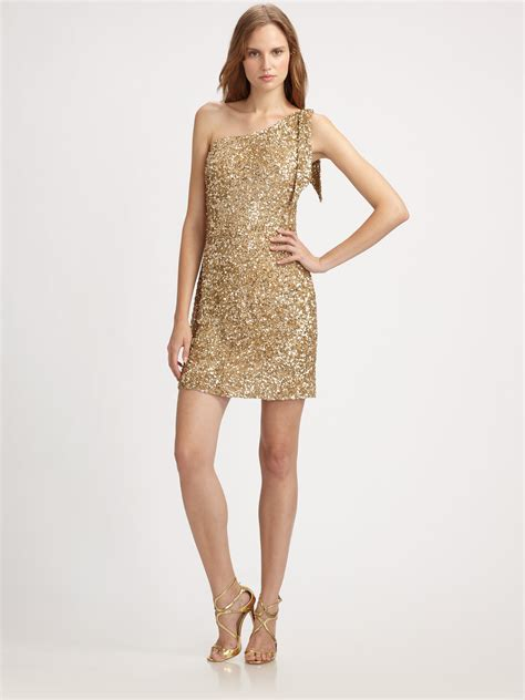 beaded gold dress aidan mattox one shoulder beaded dress in gold lyst