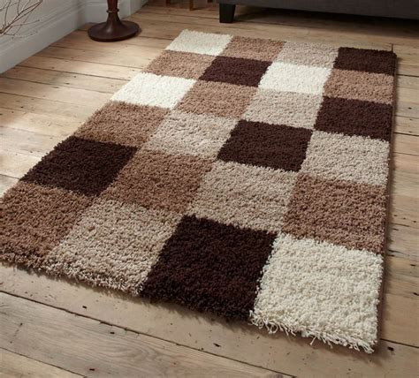 brown and beige area rug brown beige green check squares damask black shaggy modern