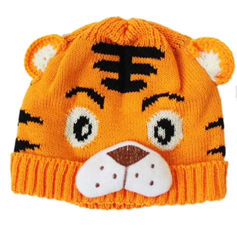knitted tiger hat baby boys toddlers crochet knit tiger hat