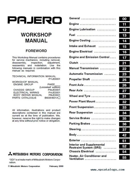 mitsubishi pajero montero workshop manual pdf download mitsubishi pajero montero workshop manual pdf