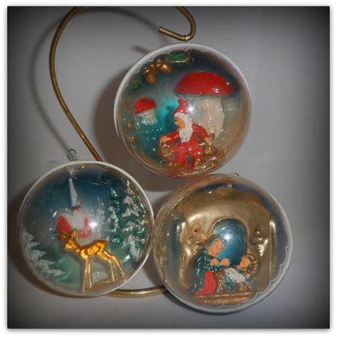 etsy vintage ornaments vintage diorama plastic ornaments italy x 3