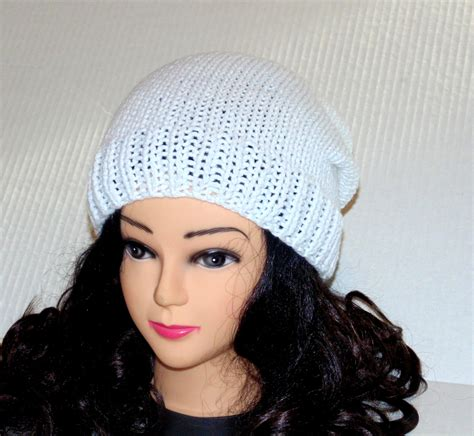 white knitted beanie hat knitted white hat womans accessories mens accessories