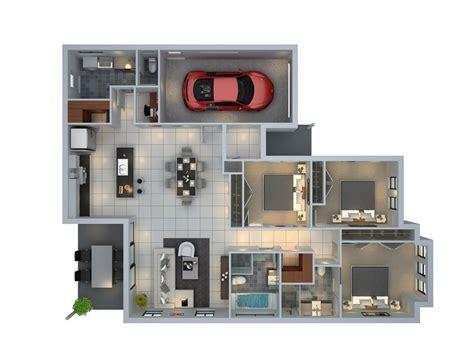 House Plan 3d 3 bedroom apartment house plans
