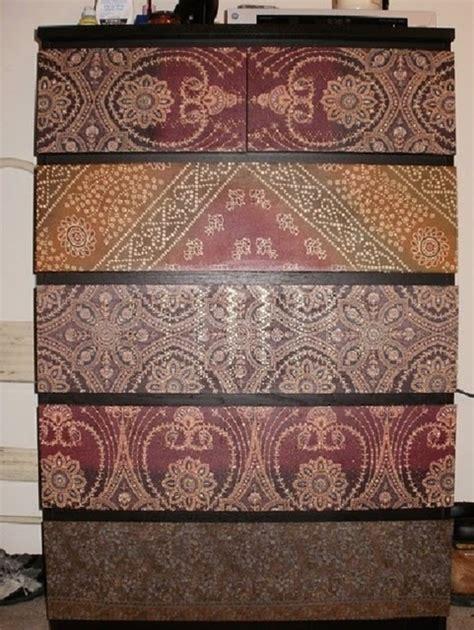 decoupage dresser with fabric decoupage fabric on ikea malm dresser home ideas