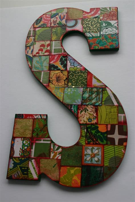 how to make decoupage letters large decoupage wood letter s collaged letter 10 5