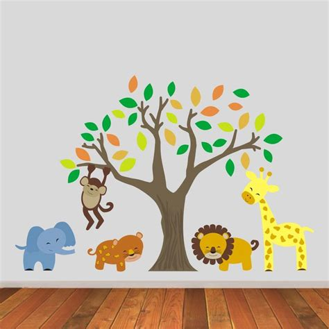jungle stickers for walls jungle animals and tree wall stickers by mirrorin