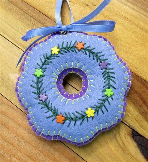 wool felt ornaments wool felt embroidered periwinkle wreath ornament by