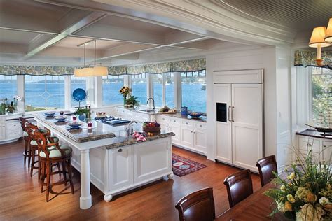 kitchen view traditional kitchen with view and an island with