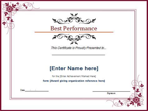 best certificate templates best performance award certificate template document