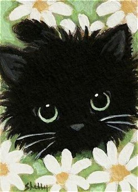 simple cat painting ideas aceo original painting black cat in daisies floral