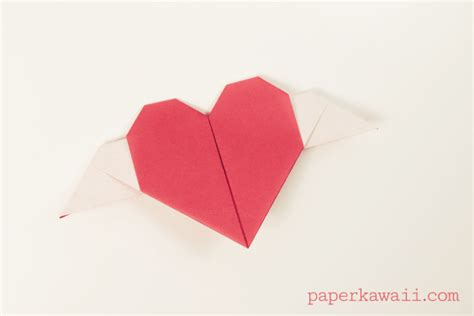 origami hearts with wings origami hearts