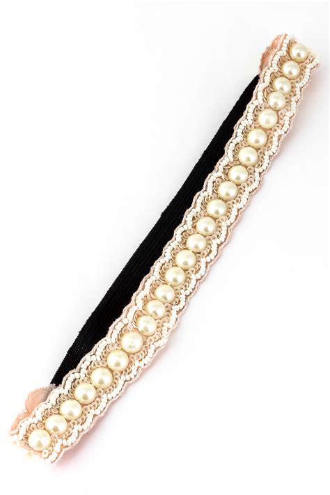 beaded elastic headbands sequin bead pearl elastic headband hair accessories