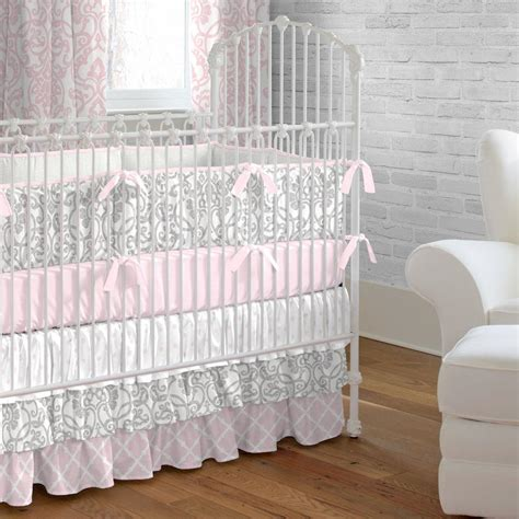 gray crib bedding sets pink and gray filigree crib bedding carousel designs