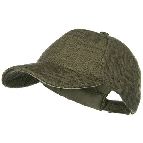 Taupe Knitted Winter Baseball Cap Solid Adjustable Cap