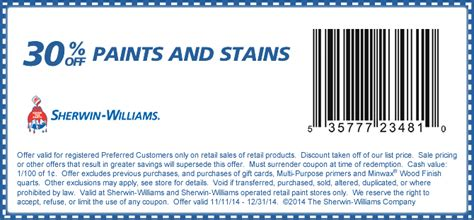 sherwin williams store coupons sherwin williams coupons 30 paint stains at
