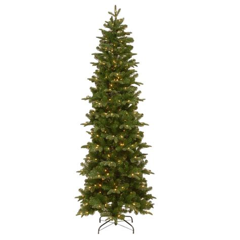 pencil artificial tree with clear lights national tree company 7 5 ft prescott pencil slim