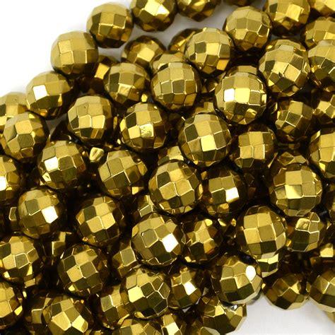 gold hematite faceted gold hematite gemstone 15 5 quot strand
