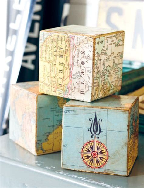 decoupage photos on wood blocks decoupage building blocks with nautical maps then add