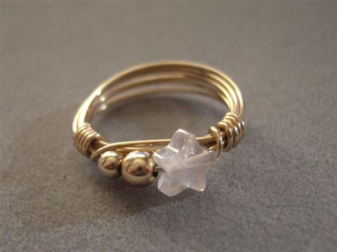 10k gold wire for jewelry 10k solid gold wire wrap ring with quartz
