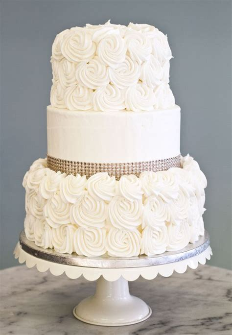 Rhinestones For Cakes Decorations a simple elegant wedding cake with rosettes and
