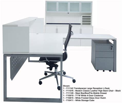 white desk l shaped trendspaces white l shaped reception desk