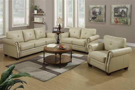 leather sofa and loveseat sets poundex f7784 beige leather sofa and loveseat set
