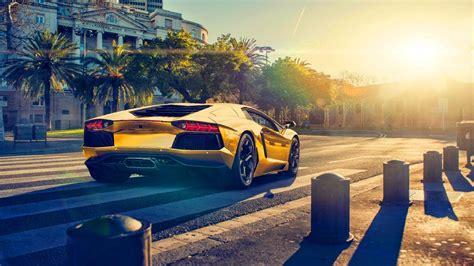 Car Sunset Wallpaper by Lamborghini Aventador Lp700 4 Gold Color Car Sunset 4k