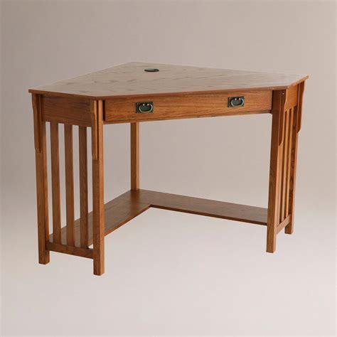 oak corner computer desks oak finish duncan corner computer desk world market