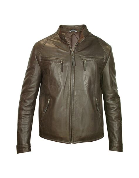 real leather jackets mens forzieri mens brown genuine leather motorcycle jacket in brown for lyst