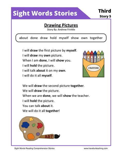 free reading reading comprehension worksheet drawing pictures