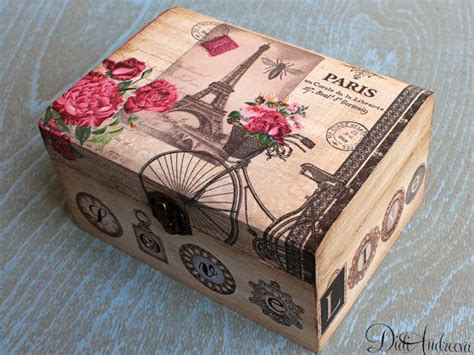 Wooden Jewelry Box Personalized Box Decoupage Box Shabby