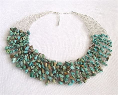how to make wire crochet jewelry turquoise crochet wire necklace gemstone jewelry green