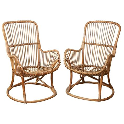White Patio Cushions by Pair Of Vintage Rattan Chairs At 1stdibs
