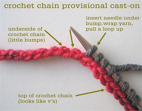 knit cast on methods crochet chain provisional cast on tin can knits