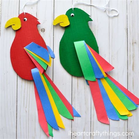 how to make parrot with craft paper colorful and twirling parrot craft i crafty things