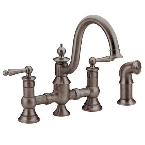 moen kitchen sink sprayer moen waterhill 2 handle high arc side sprayer bridge