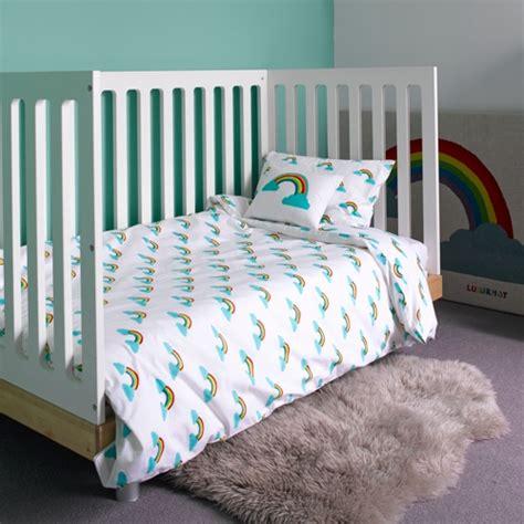 cot bed duvet set rainbow cot bed duvet set by lulu nat toddler bedding